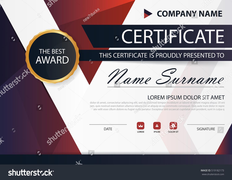 Red Black Elegance Horizontal Certificate Vector Stock Vector (2018 ...