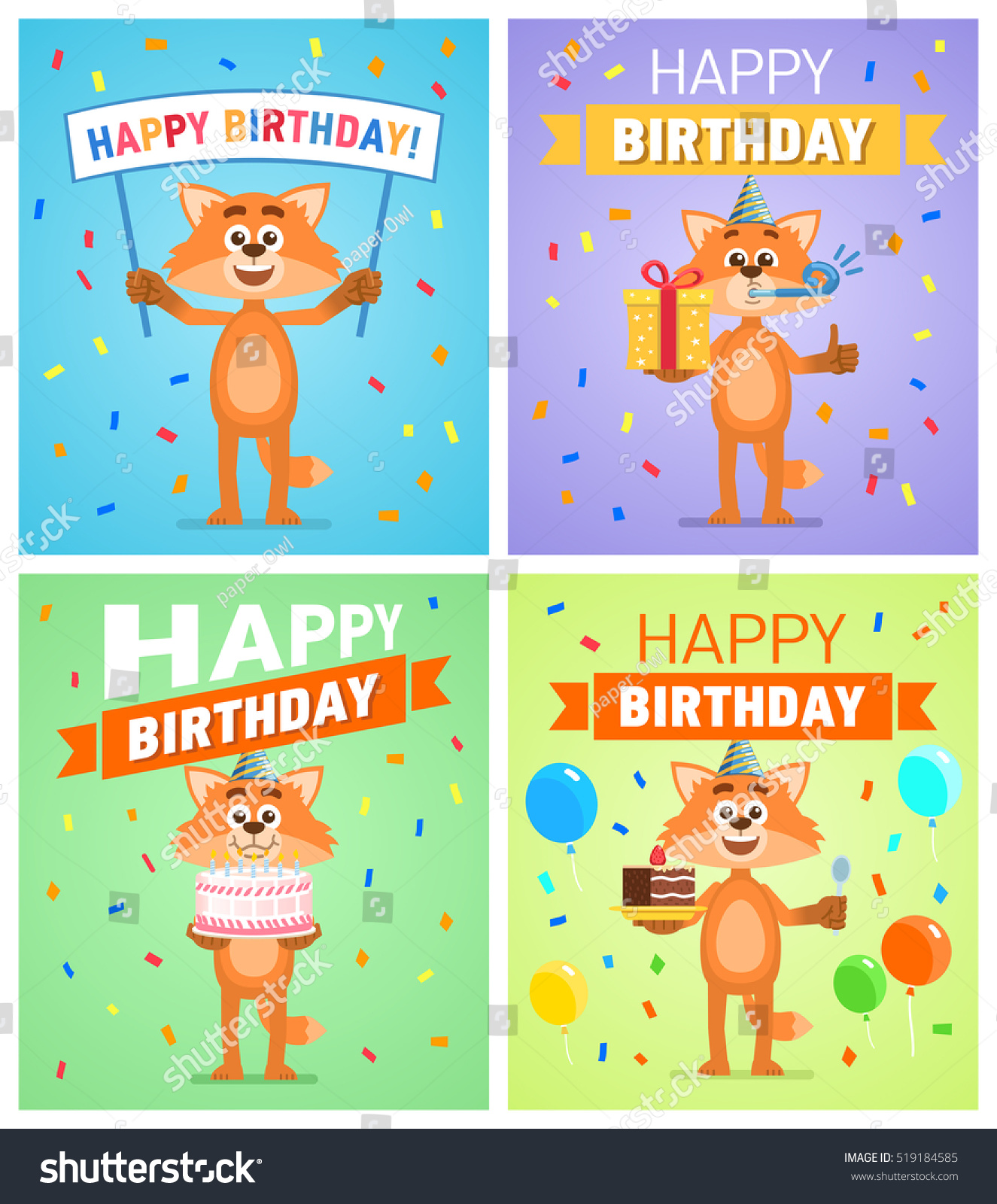 Set Different Birthday Posters Birthday Greeting Stock Vector