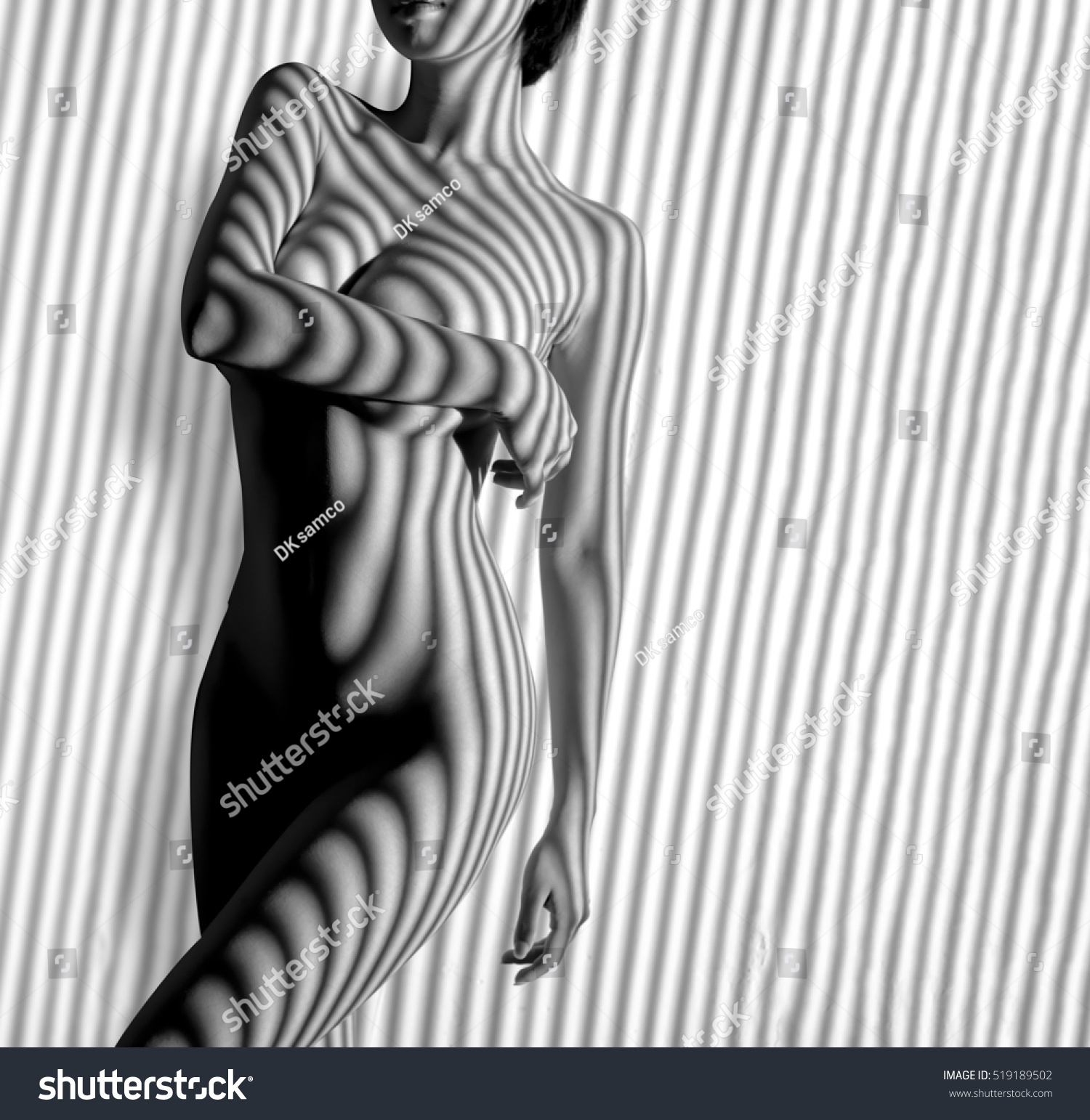 Nude female bodybuilders in black and white
