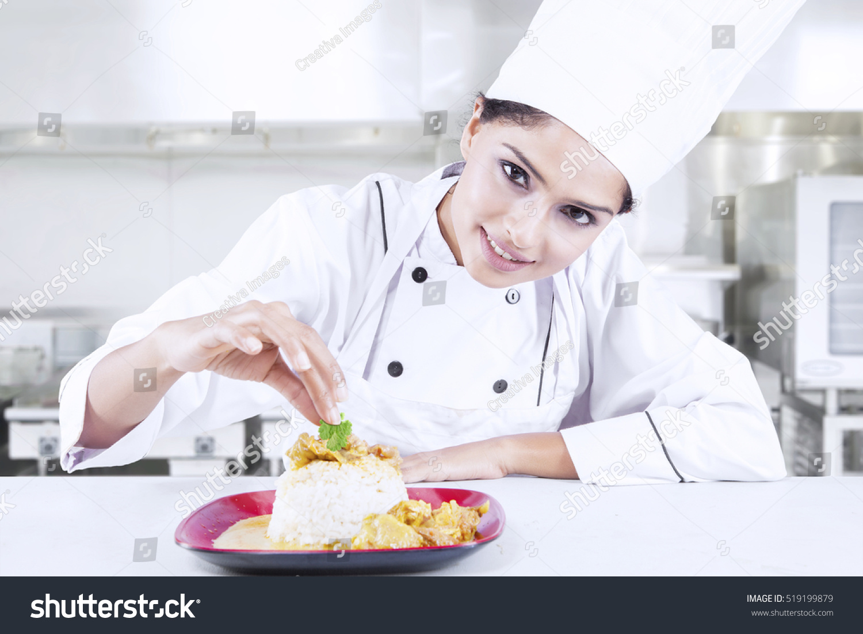 Portrait Beautiful Indian Chef Preparing Delicious Stock Photo (Safe ...