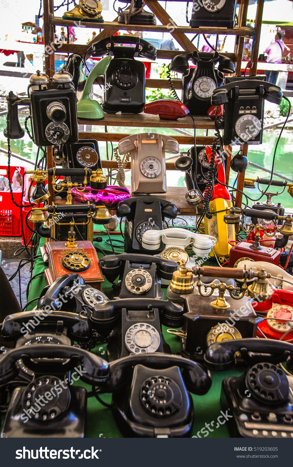 Vintage Phones On Display At A Flea Market In Milan, Italy ...