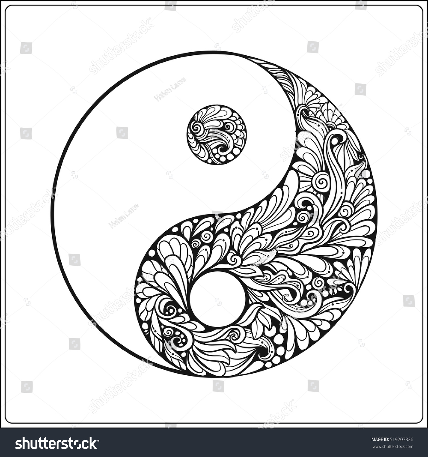 Symbol Of Yin And Yang In Gold On Black Background Coloring Book
