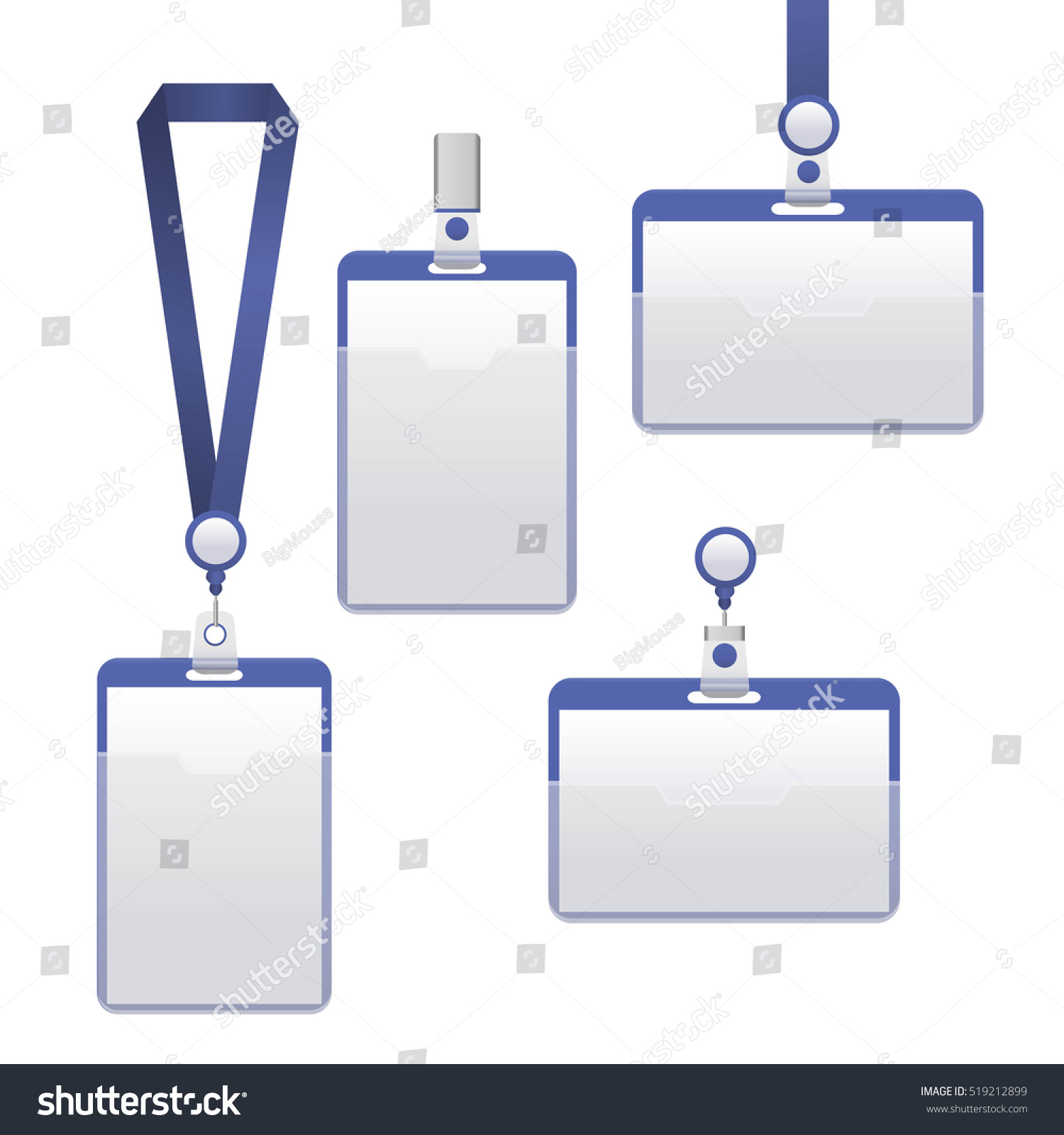 Template badge identification set can be stock vector 519212899 template badge identification set can be used for presentation company or office empty mock pronofoot35fo Images