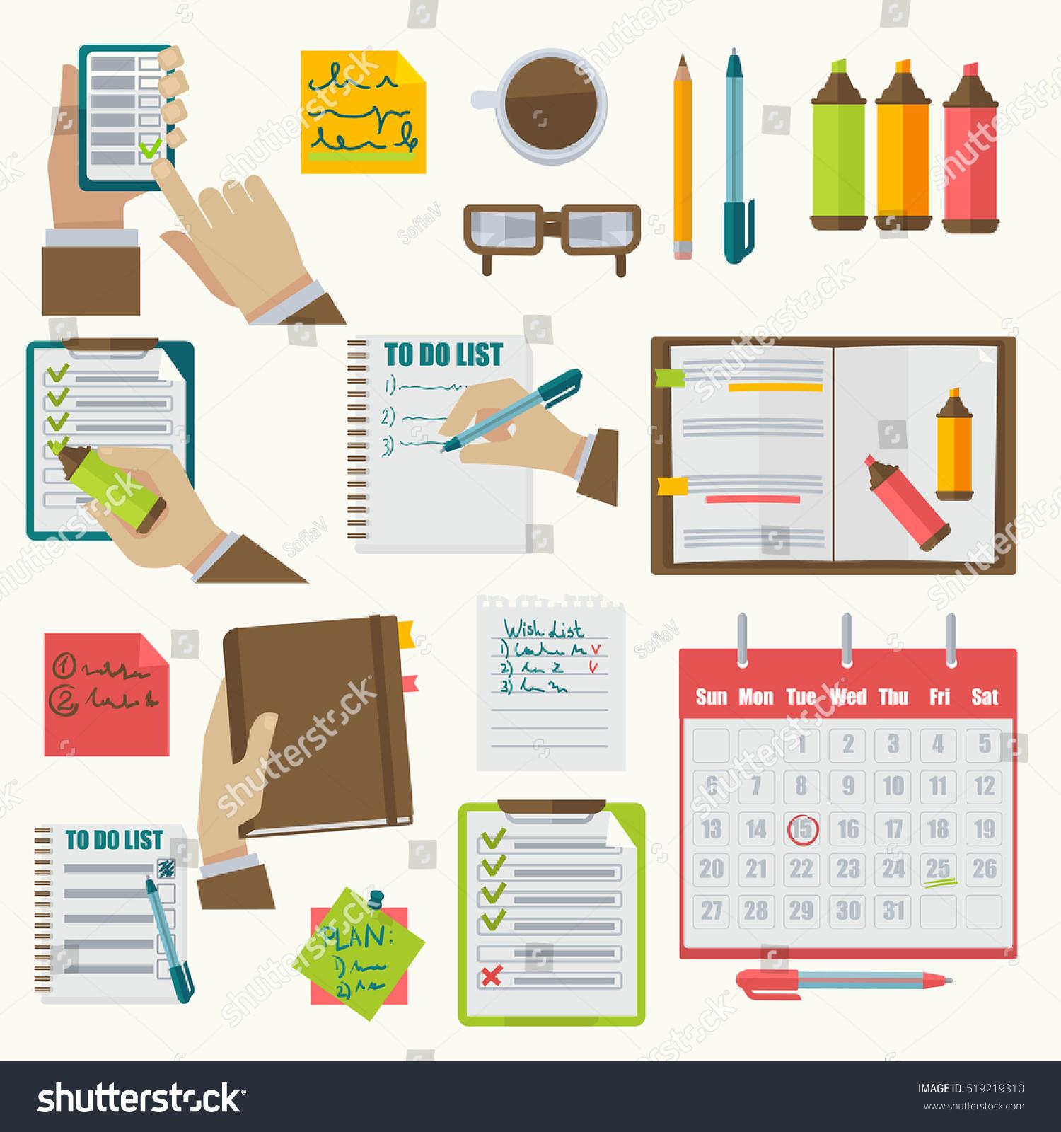 Calendar Illustration List : Vector notebooks agenda collection schedule organizer