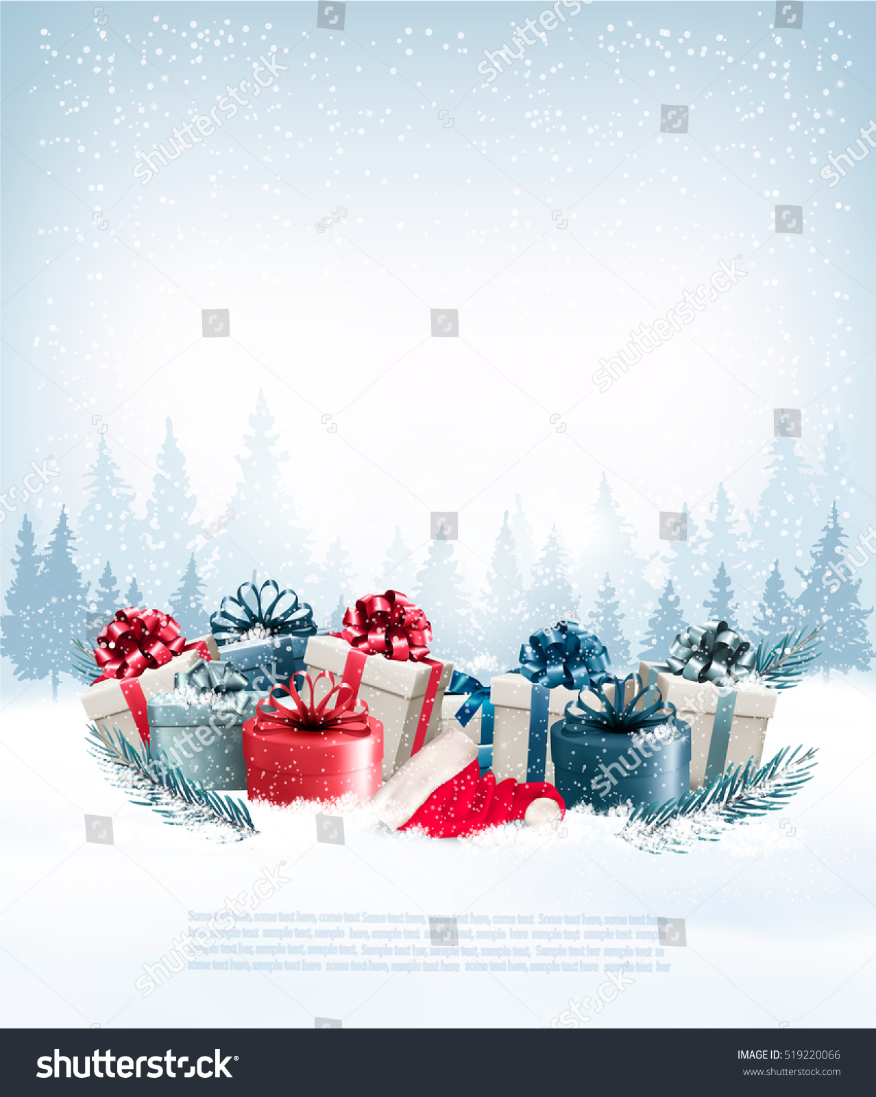 holiday christmas background gift boxes santa stock vector