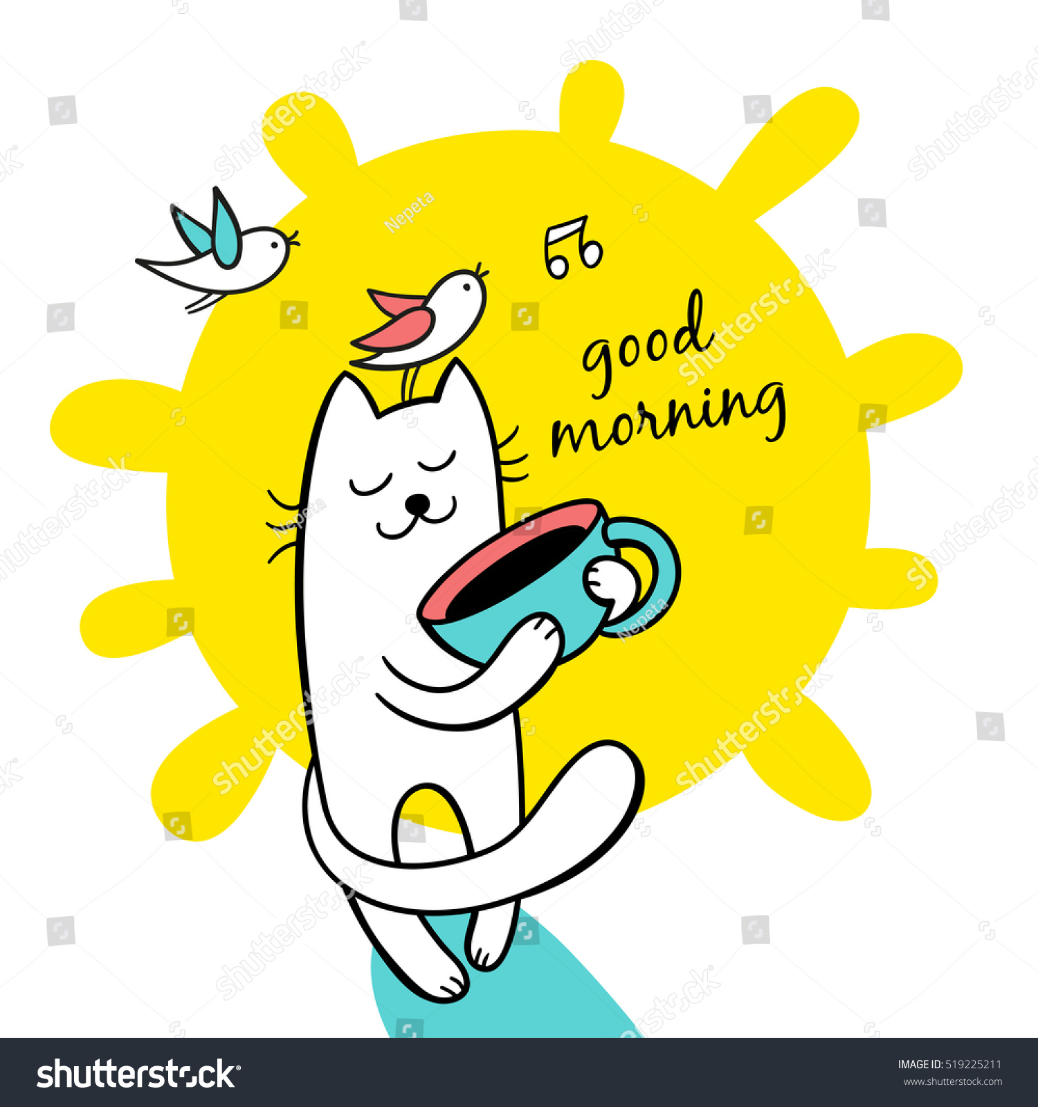 Good Morning Sunny Day Funny Cat Stock Vector Royalty Free