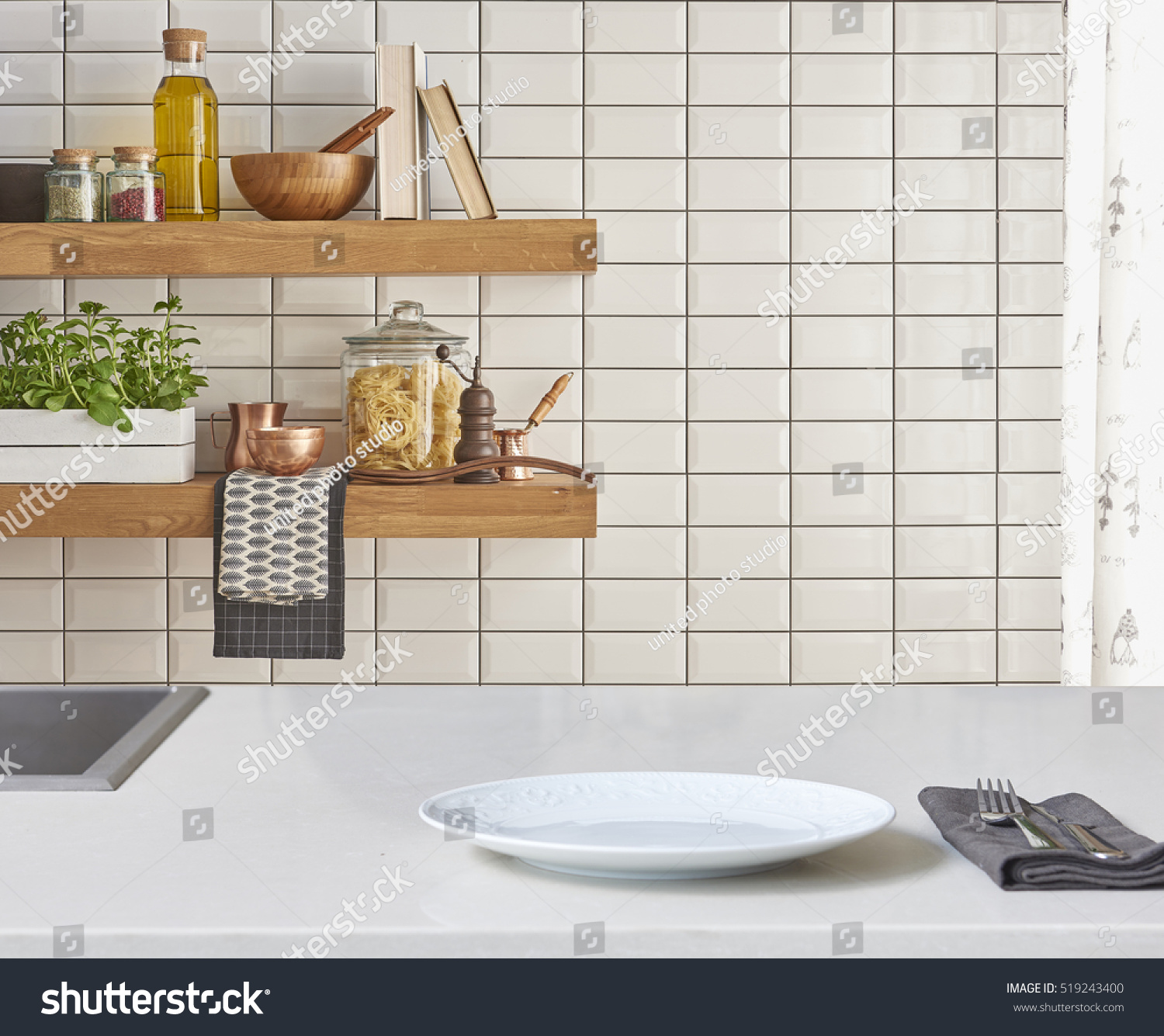 Background Modern Tiles Wall White Table Stock Photo