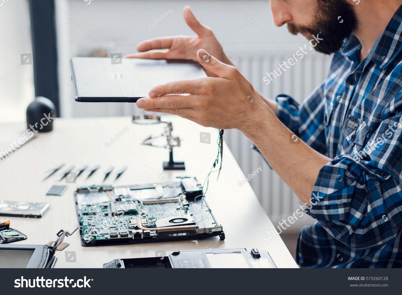 Laptop Disassembling Electronic Repair Shop Side Stock Photo