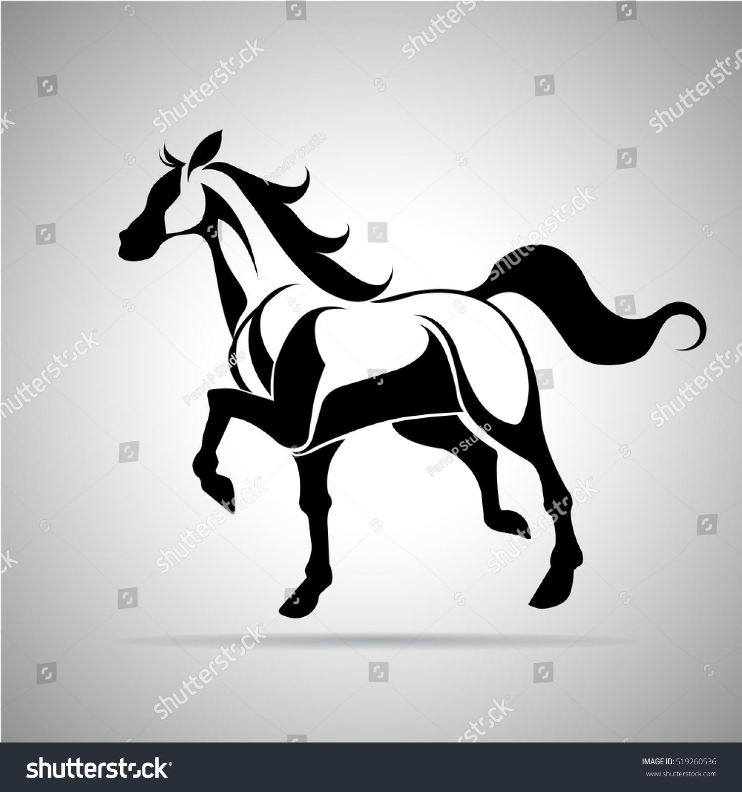 Horse Logo Emblem Template Mascot Symbolsilhouette Stock Vector