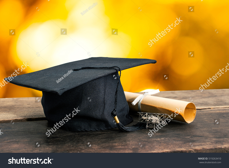 Graduation Cap Hat Degree Paper On Stock Photo 519263410 ...
