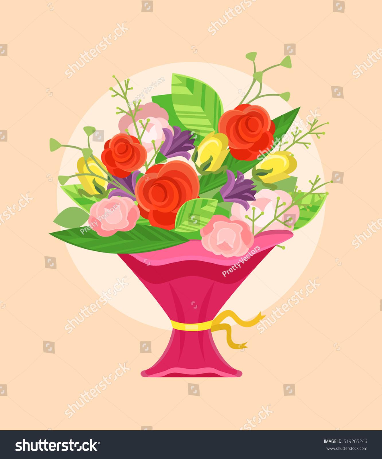 Bouquet Beautiful Flowers Vector Flat Cartoon Stock Photo (Photo ...