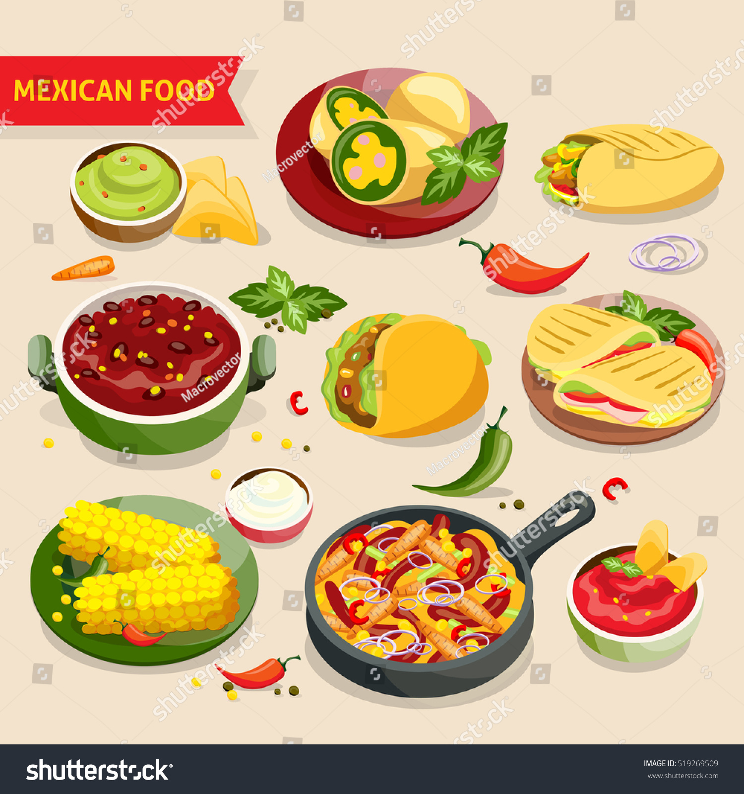 Mexican food set traditional mexico cuisine stock for Authentic mexican cuisine