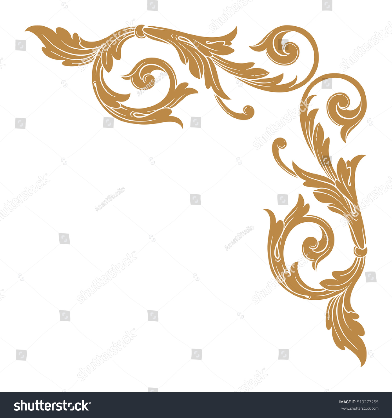 I Designed A Vintage Looking Border Art For You To Use In: Gold Vintage Baroque Corner Ornament Retro Stock Vector