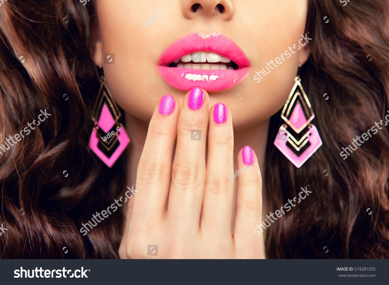 Pink Lips Jewelry Design Nails Fashion Stock Photo (Royalty Free ...