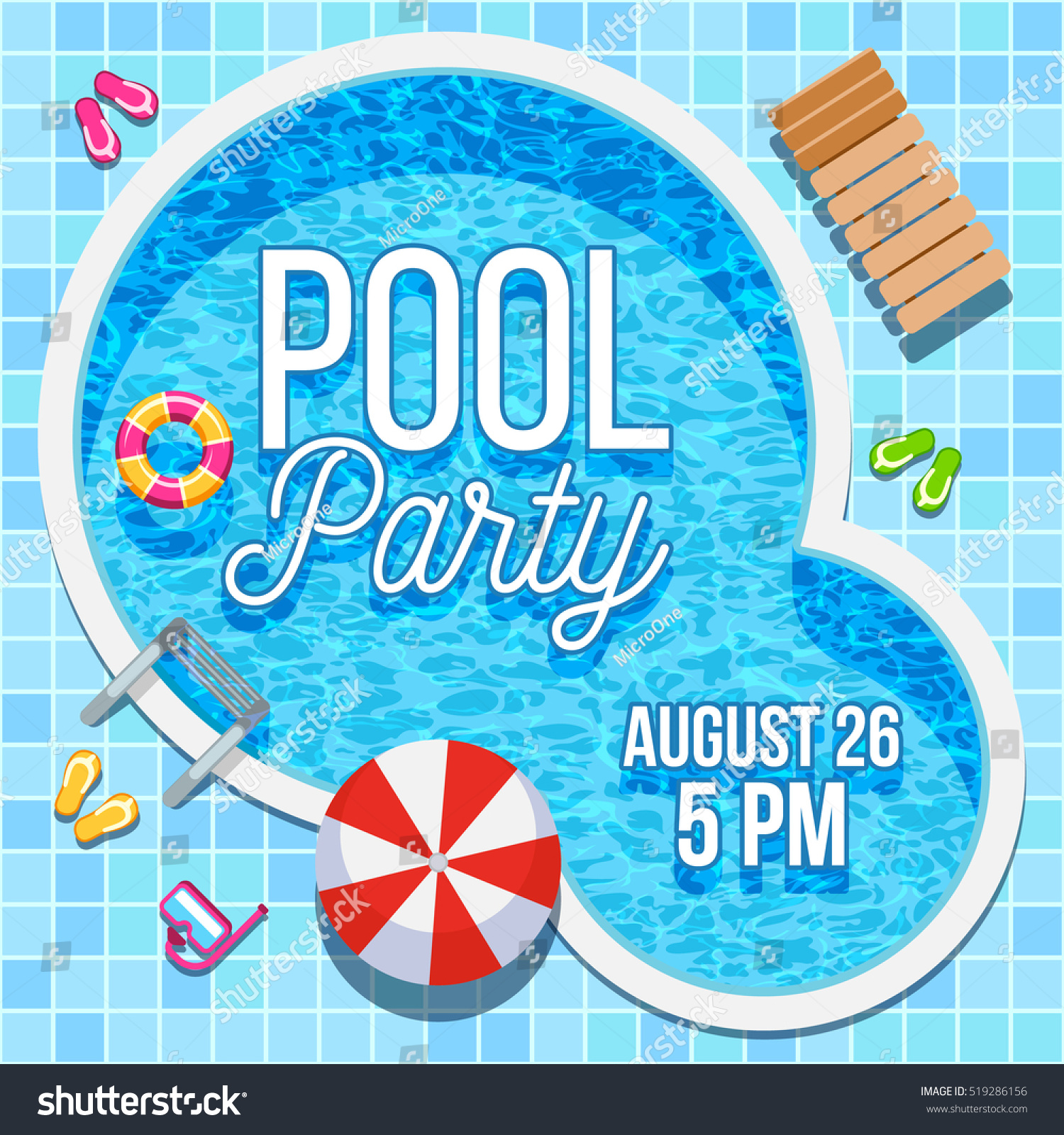 summer pool party invitation nobody waterのイラスト素材 519286156
