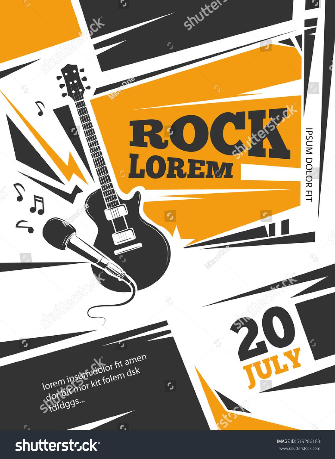 live music poster template rock concertのイラスト素材 519286183