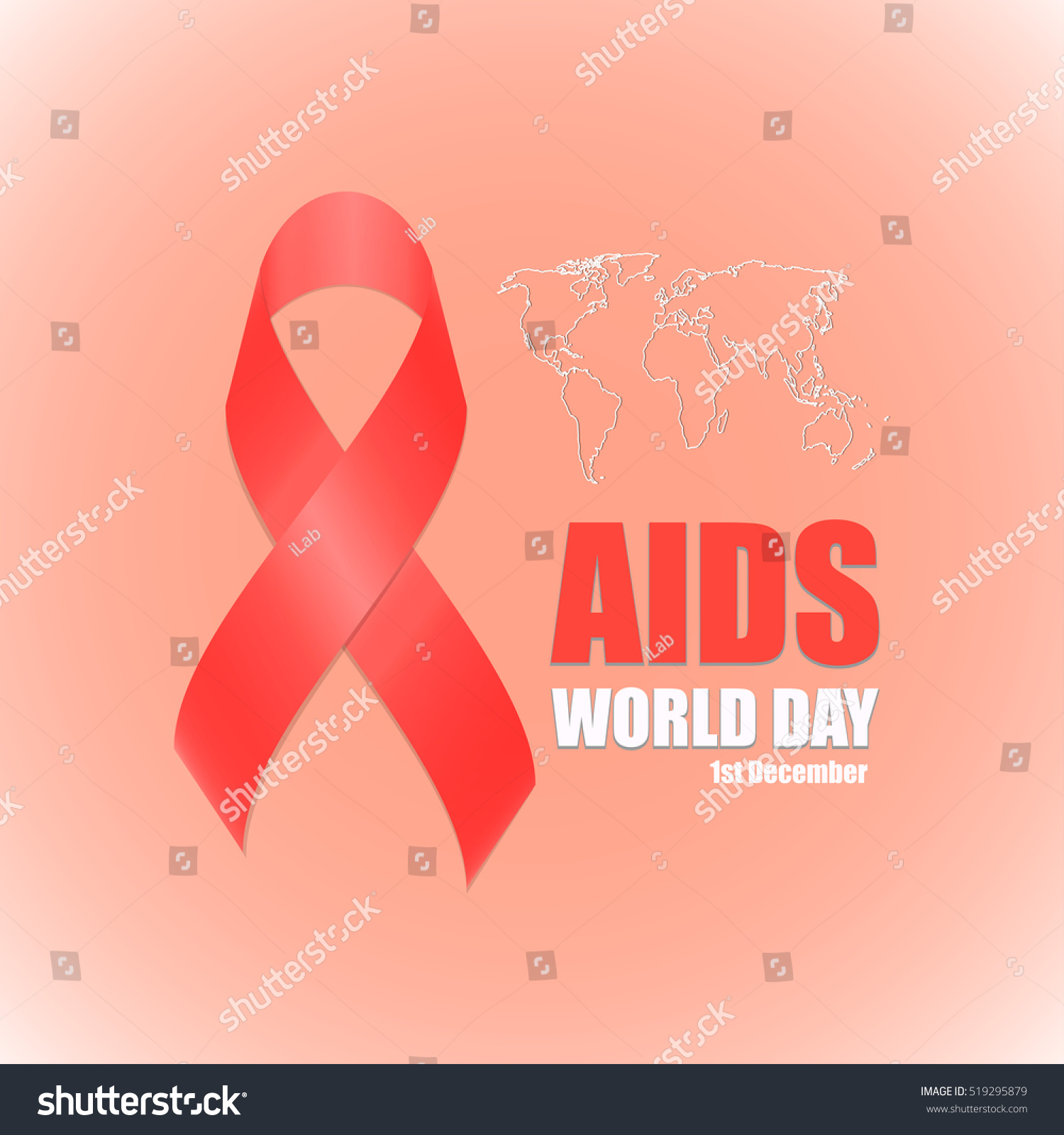 Red Ribbon Symbol Aids World Day Stock Vector Royalty Free