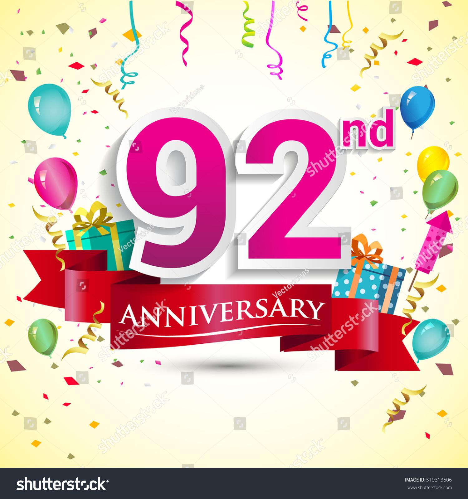 92nd Years Anniversary Celebration Design Gift Stock Vector ...
