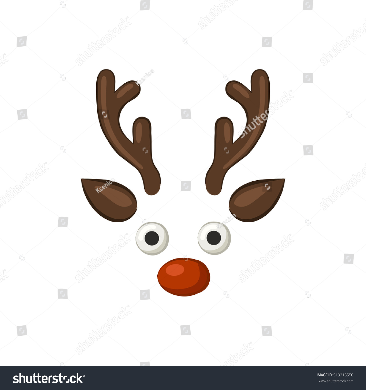 Christmas Reindeer Funny Cartoon Icon Isolated Stock Vector Royalty Free 519315550