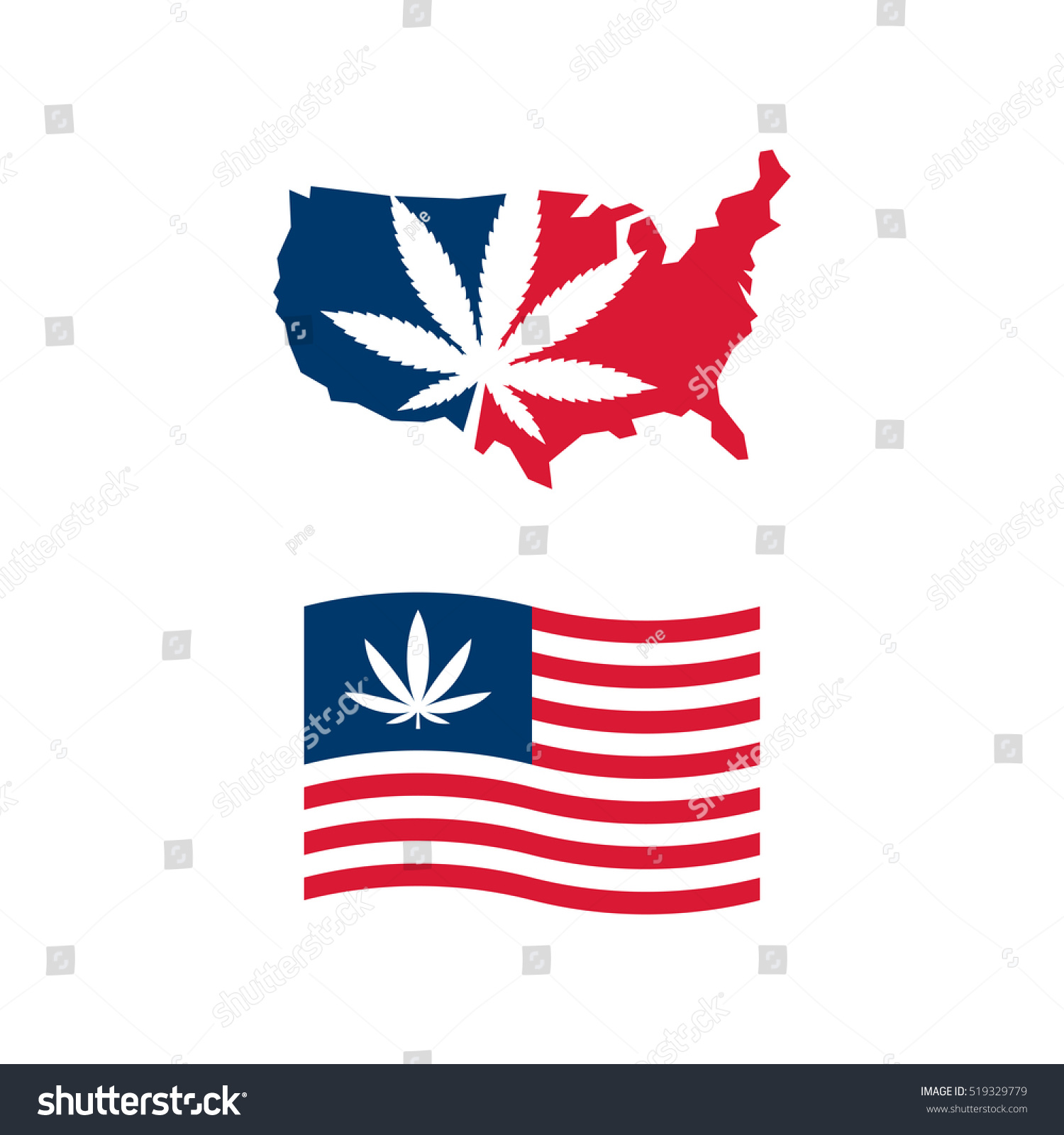 American Flag Us Map Cannabis Vector Stock Vector Royalty Free - American-flag-us-map