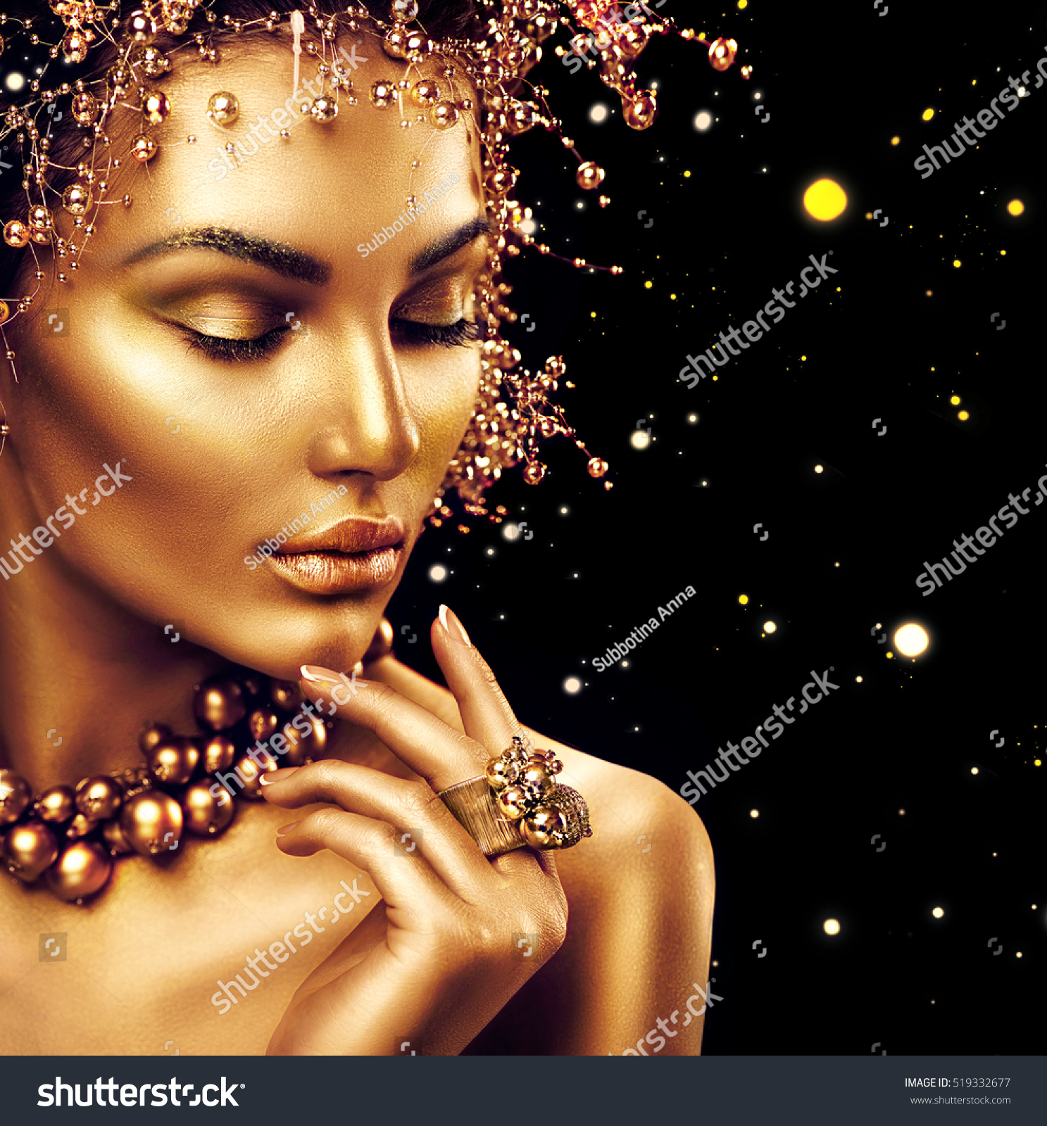 Beauty Fashion Model Girl Golden Makeup Stock Photo