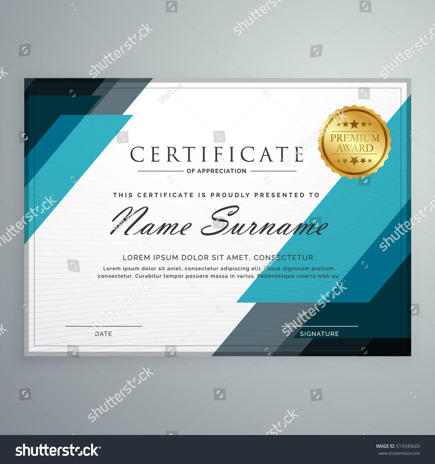 stylish certificate appreciation award design template のベクター