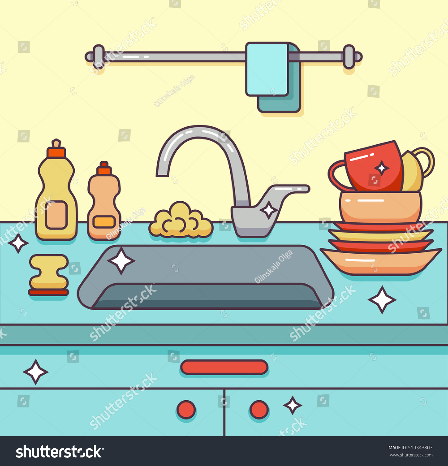 Kitchen Wall Faucet Kitchen Sink Kitchenware Dishes Utensil Towel Stock Vector