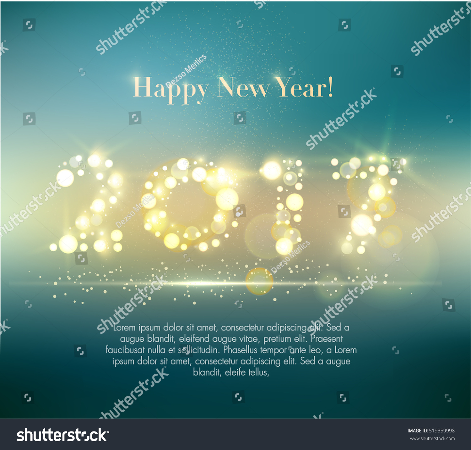 Vector 2017 Happy New Year background with sample text.