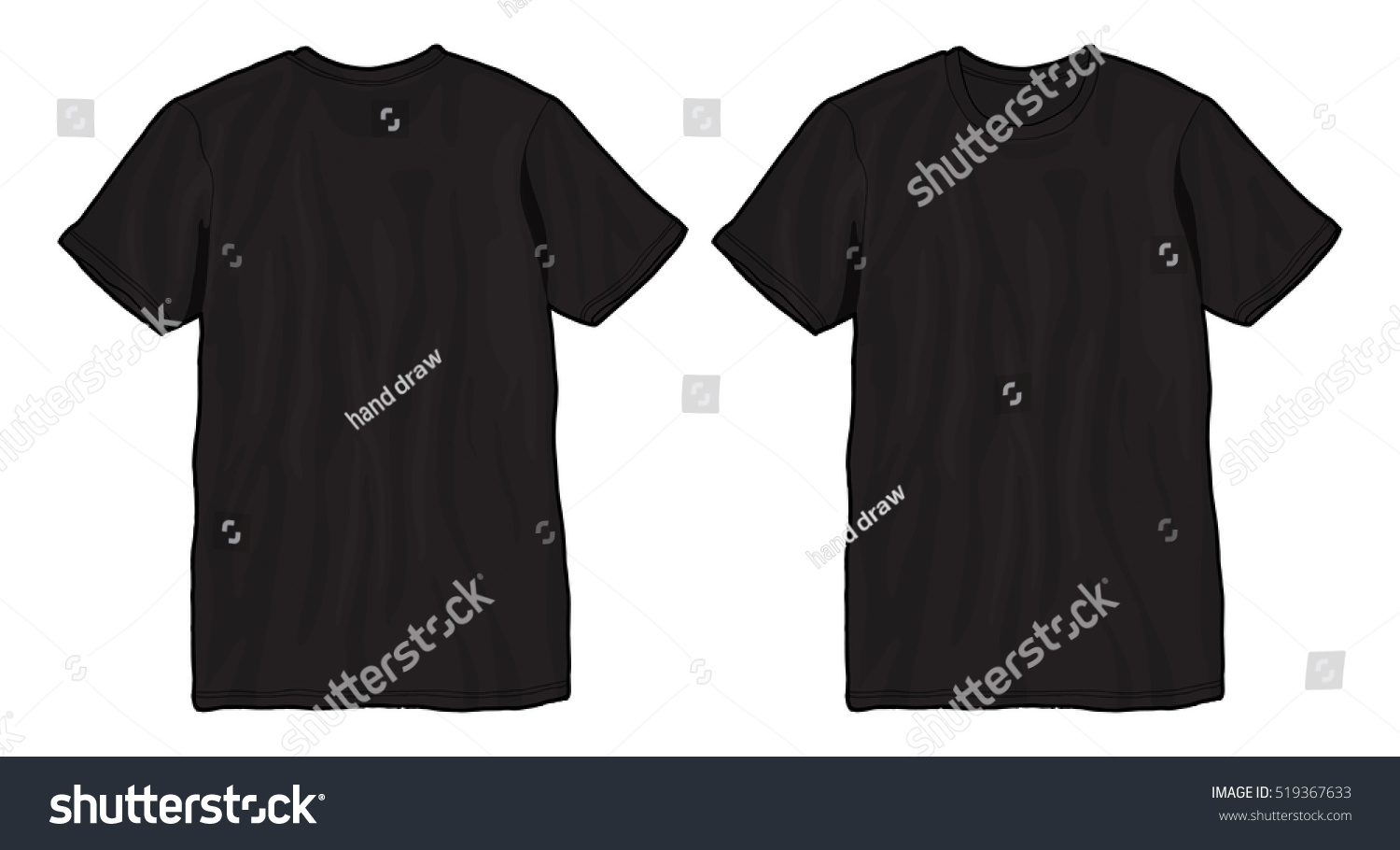 Blank T Shirt Template Black Tshirt Stock Vector 519367633 ...