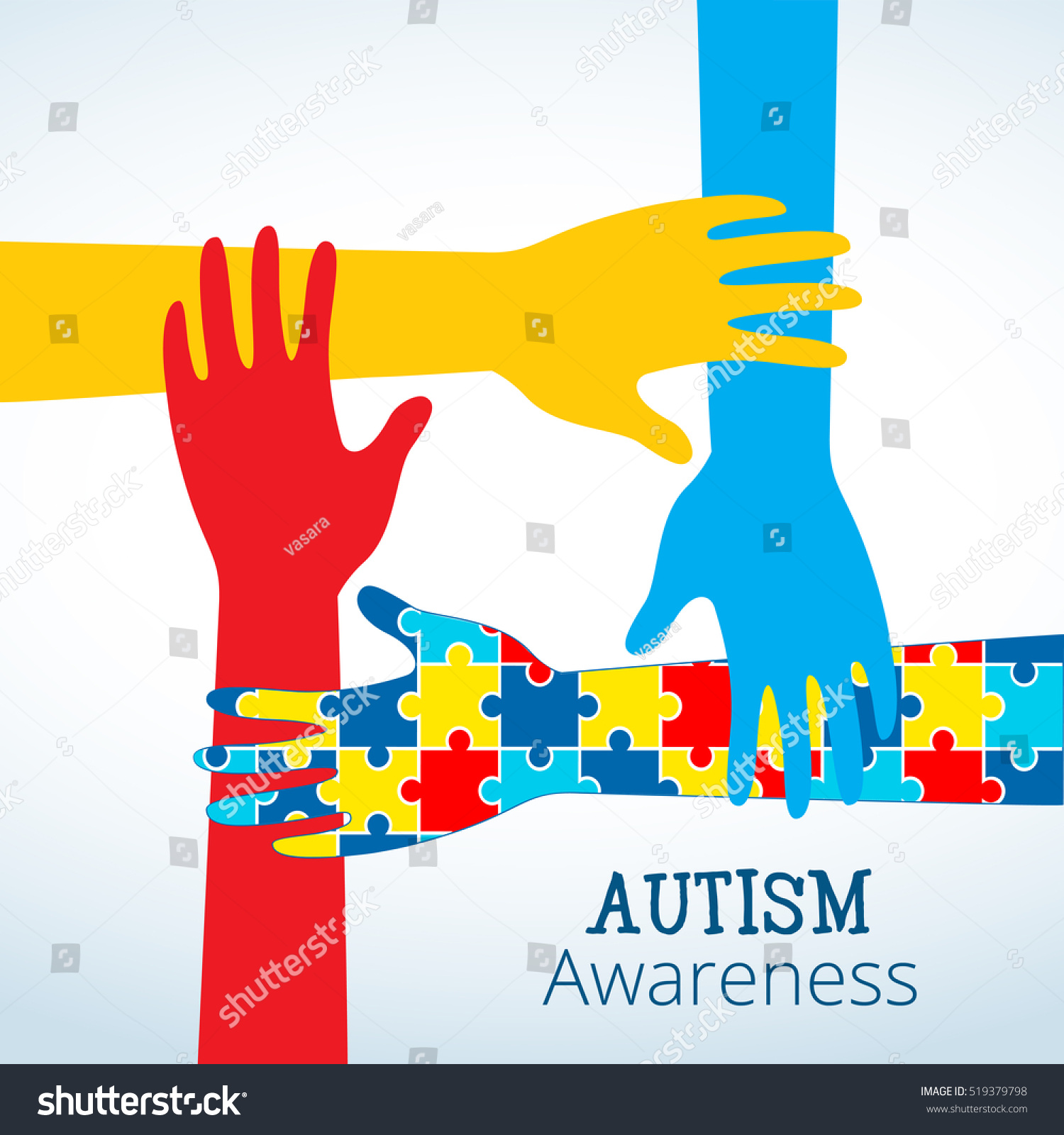 Autism Awareness Concept Hand Puzzle Pieces Stock Vector Royalty