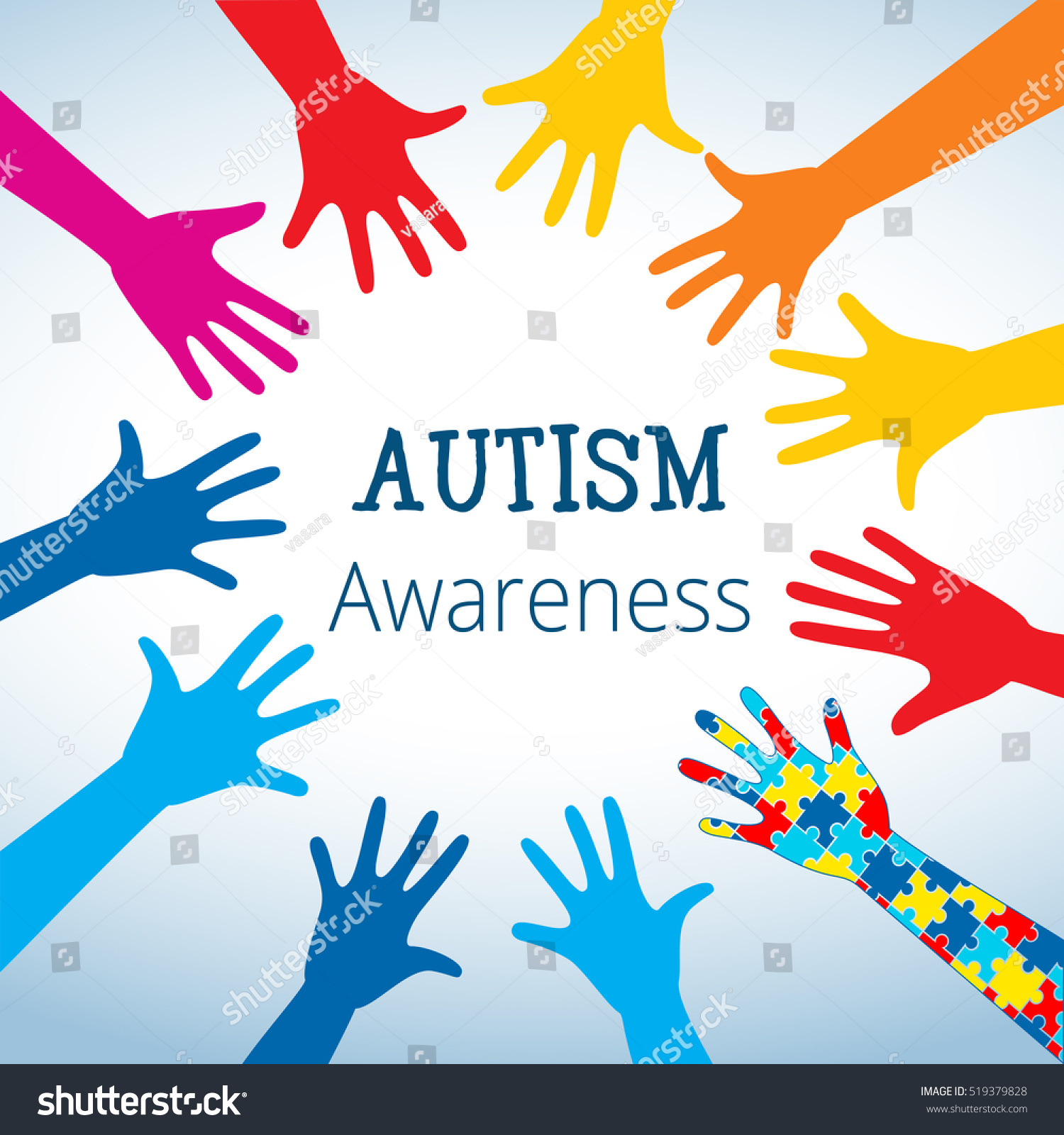 Autism Awareness Concept Hand Puzzle Pieces Stock Vector 519379828