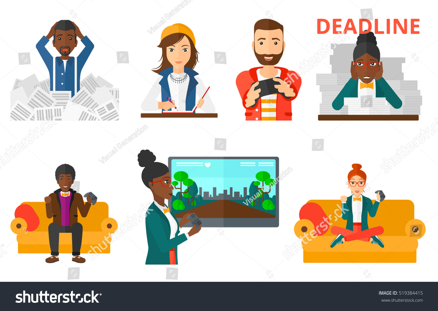 Excited Young Man Gaming Console Hands Stock Vector 519384415 ...
