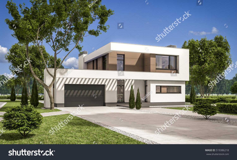 3d rendering modern cozy house garage stock illustration for Homes with big garages for sale