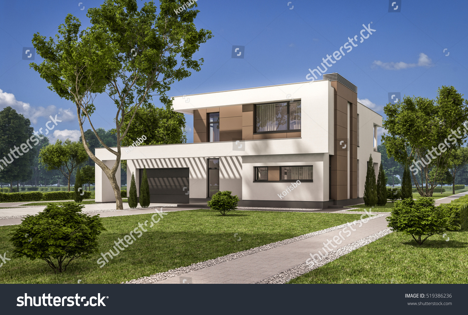 3d rendering modern cozy house garage for Large garage for sale