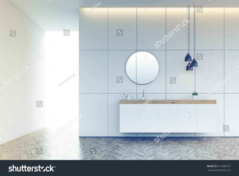 Bathroom Interior Tiled Wall Round Mirror Stock Illustration ...