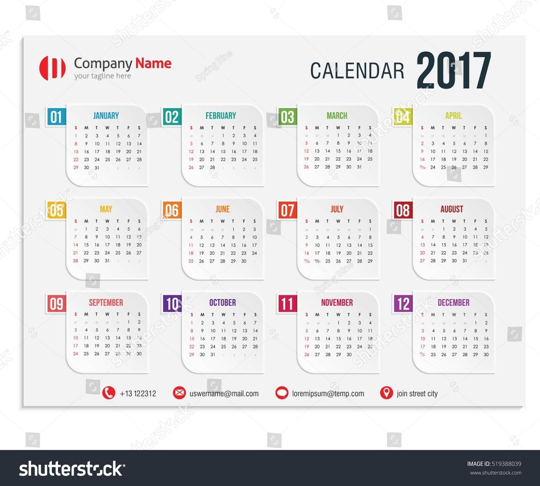 Illustration Calendar Design : Illustration design vector template color stock