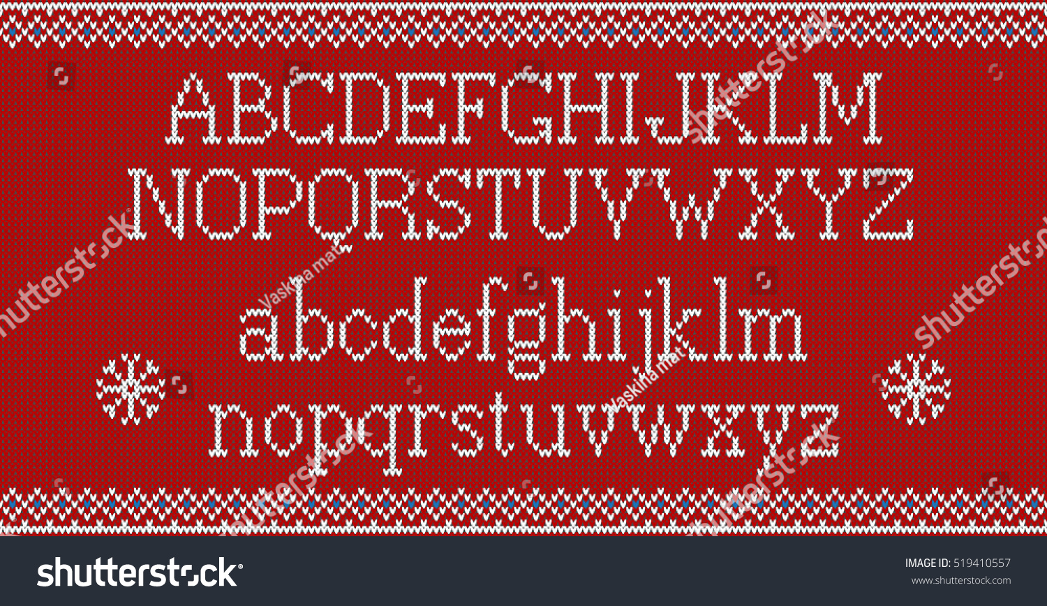 Knitting Font Free Download : Christmas font knitted latin alphabet on stock vector