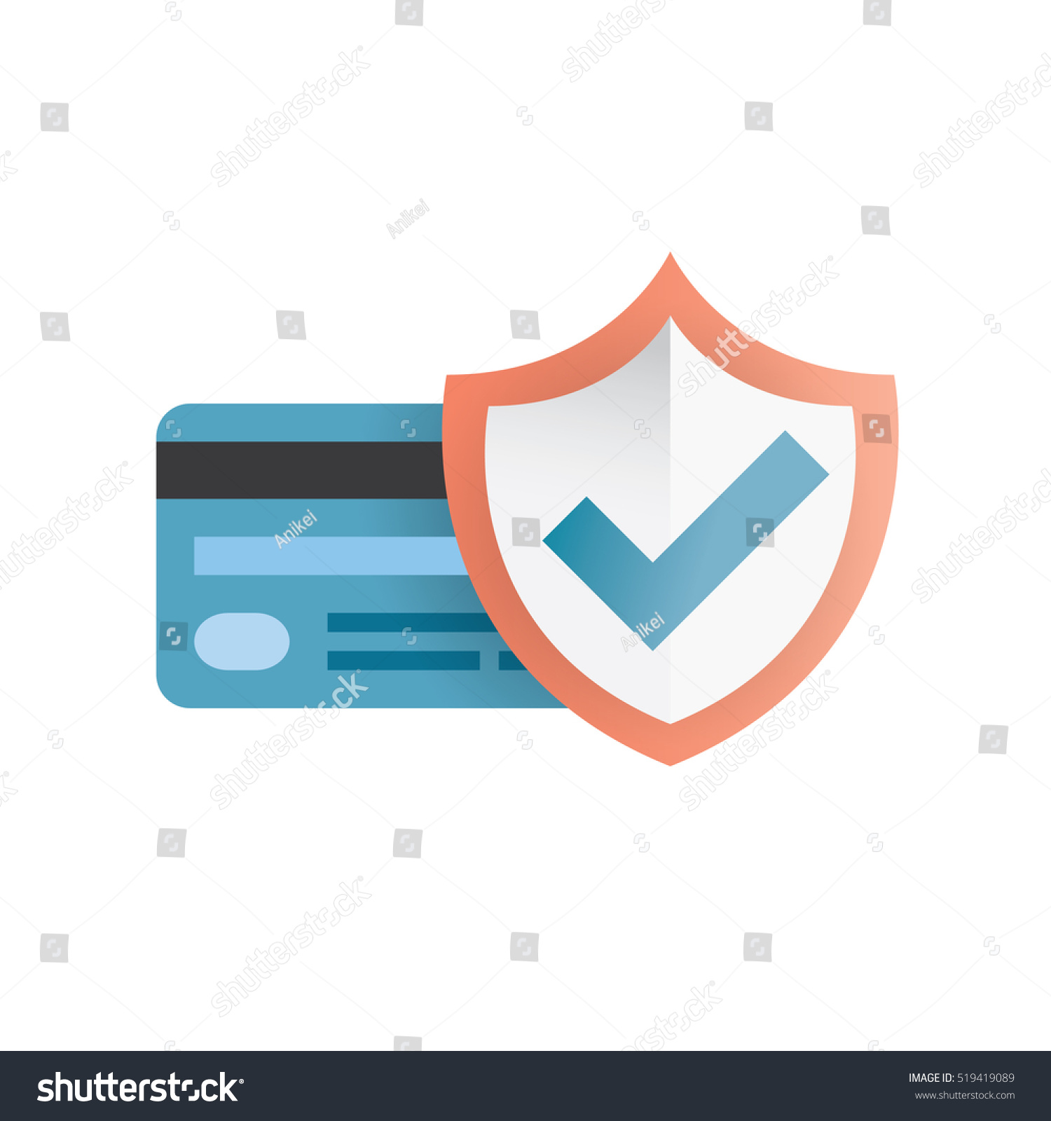 Buyer Protection: Credit Card Shield Purchase Protection Concept Stock