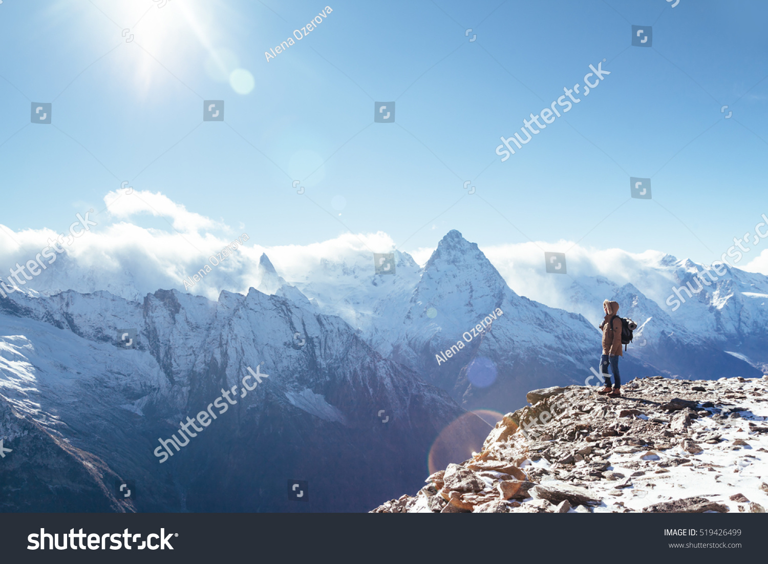 Man Backpack Trekking Mountains Cold Weather Stock Photo