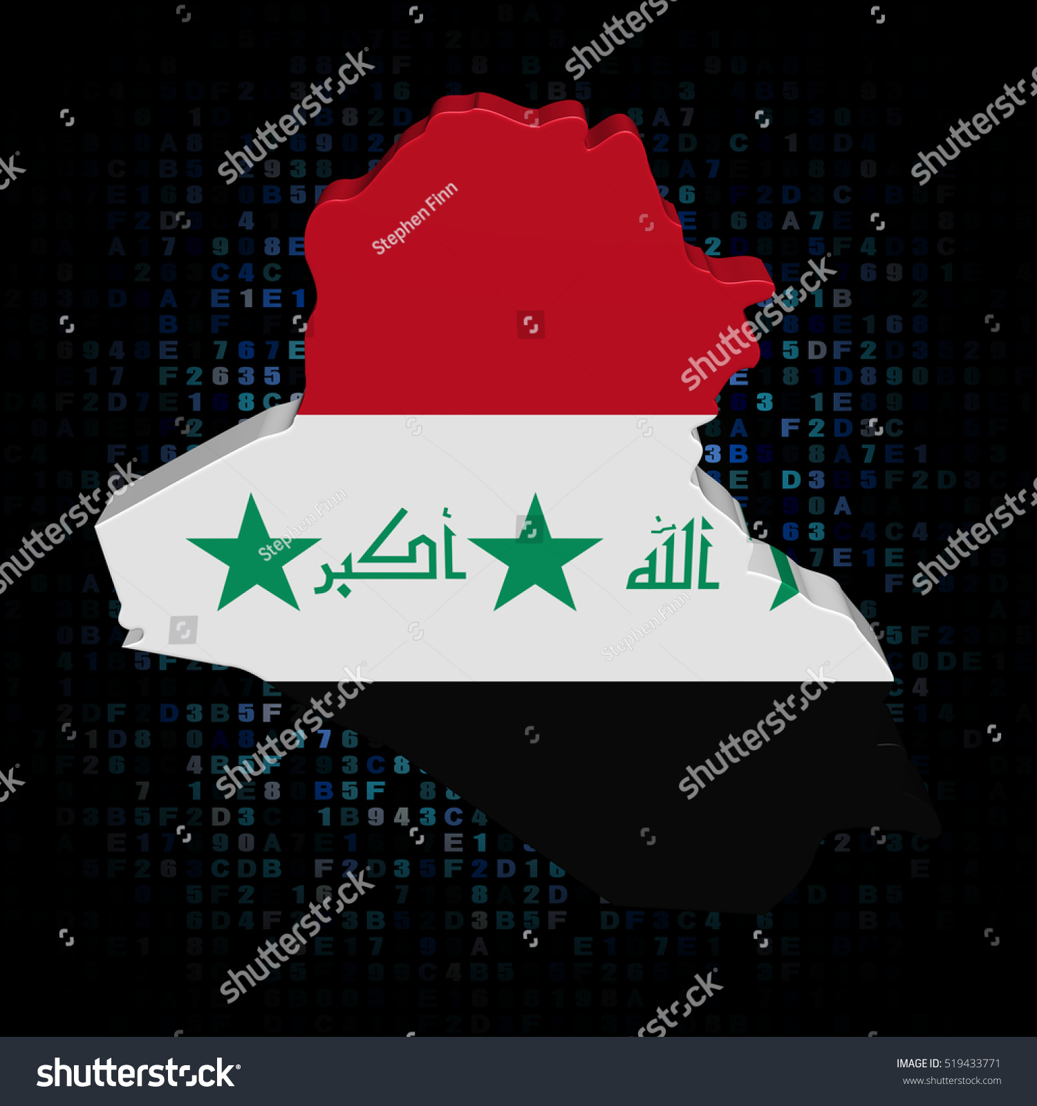 Iraq Map Flag On Hex Code Stock Illustration - Royalty Free