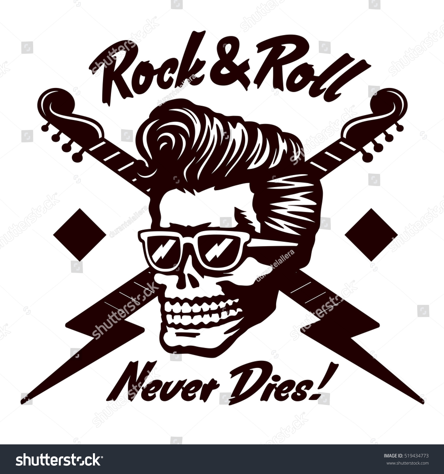 Create A Rockabilly Poster With Vector Set 22: Rocknroll Never Dies Skull Zombie Head Stock Vector