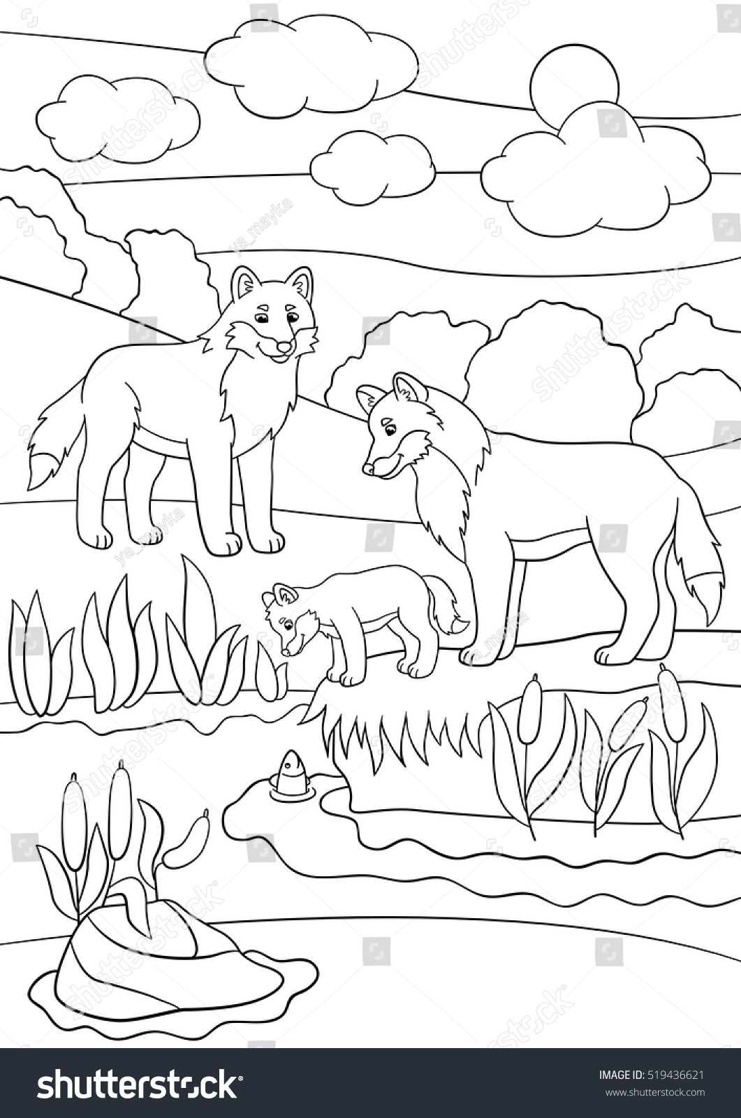 Coloring Pages Mother Father Wolves Look Stock Vector (Royalty Free ...