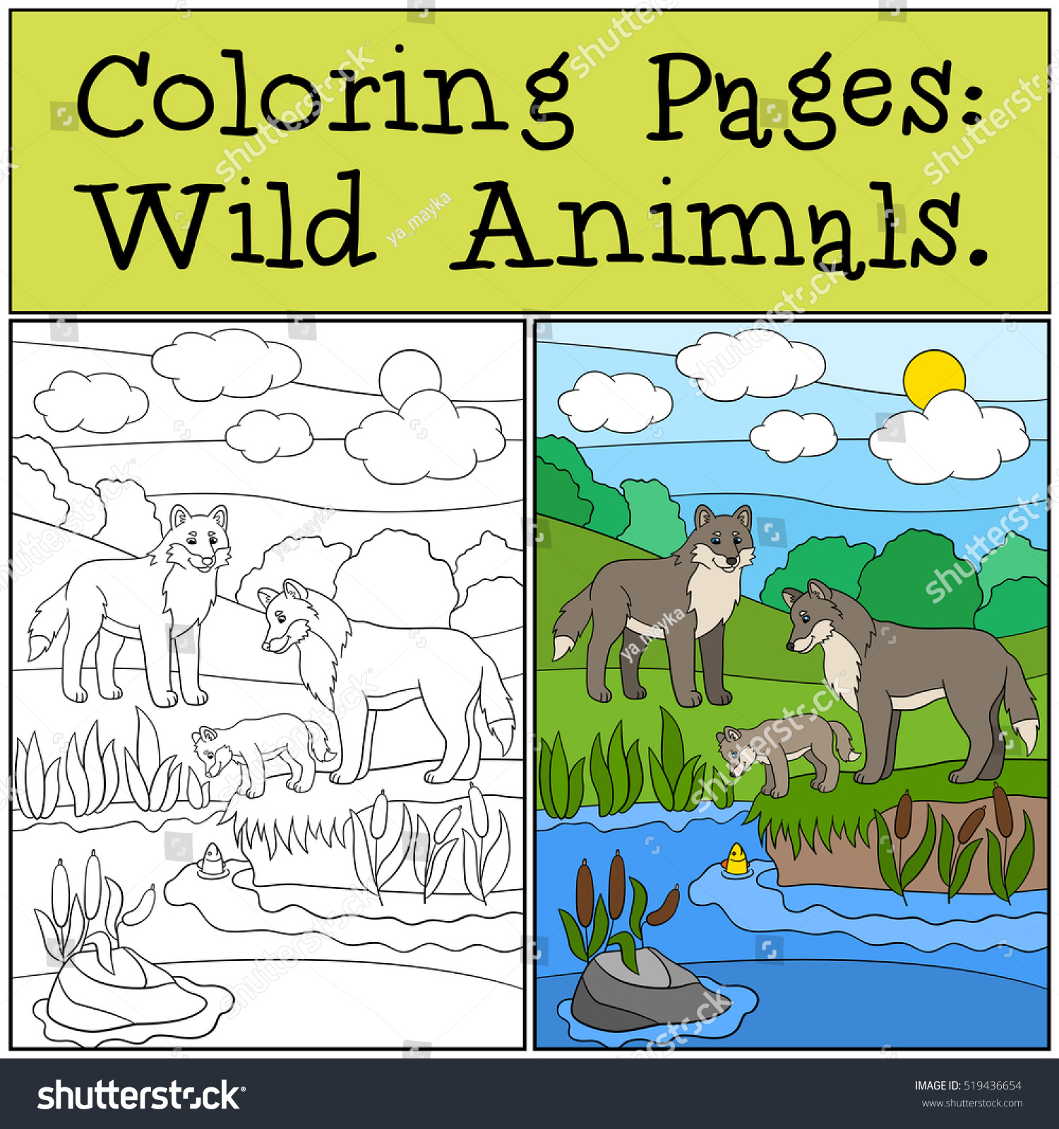 Coloring Pages Wild Animals Mother Father Stock Photo (Photo, Vector ...