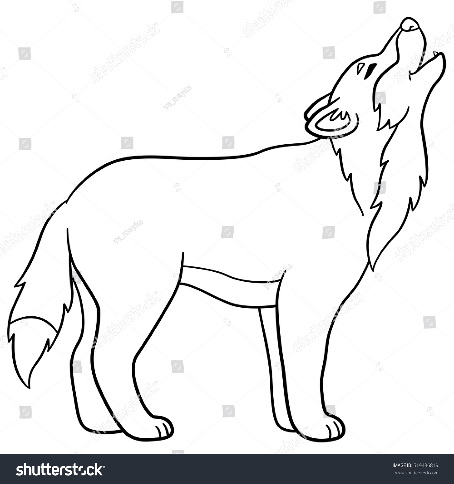 Royalty-free Coloring pages. Cute beautiful wolf… #519436819 Stock ...
