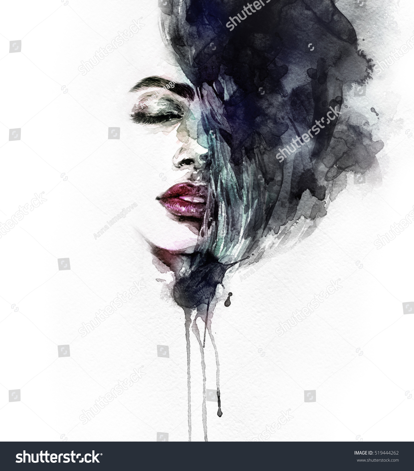 Abstract woman face fashion illustration watercolor painting