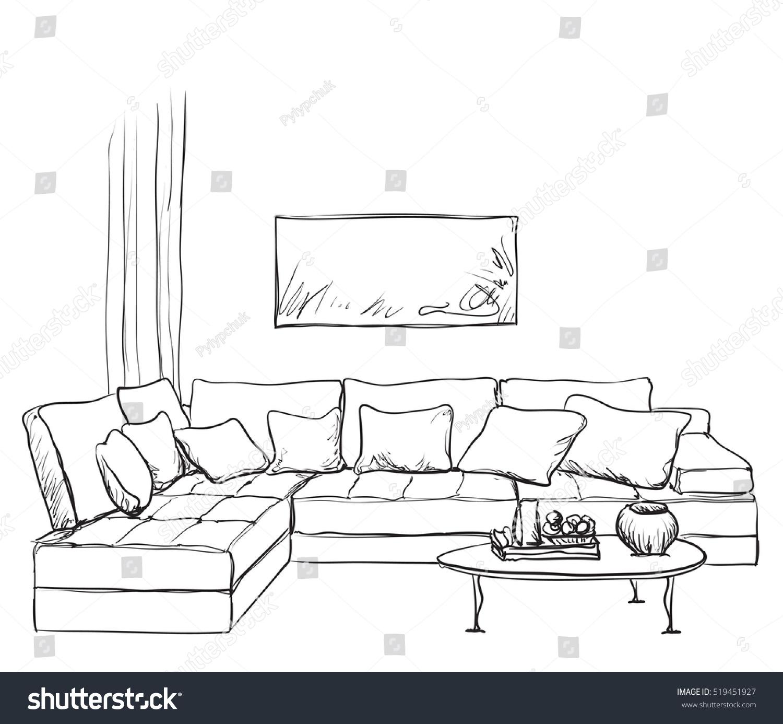 Hand Drawn Room Interior Sketch Stock Vector 519451927