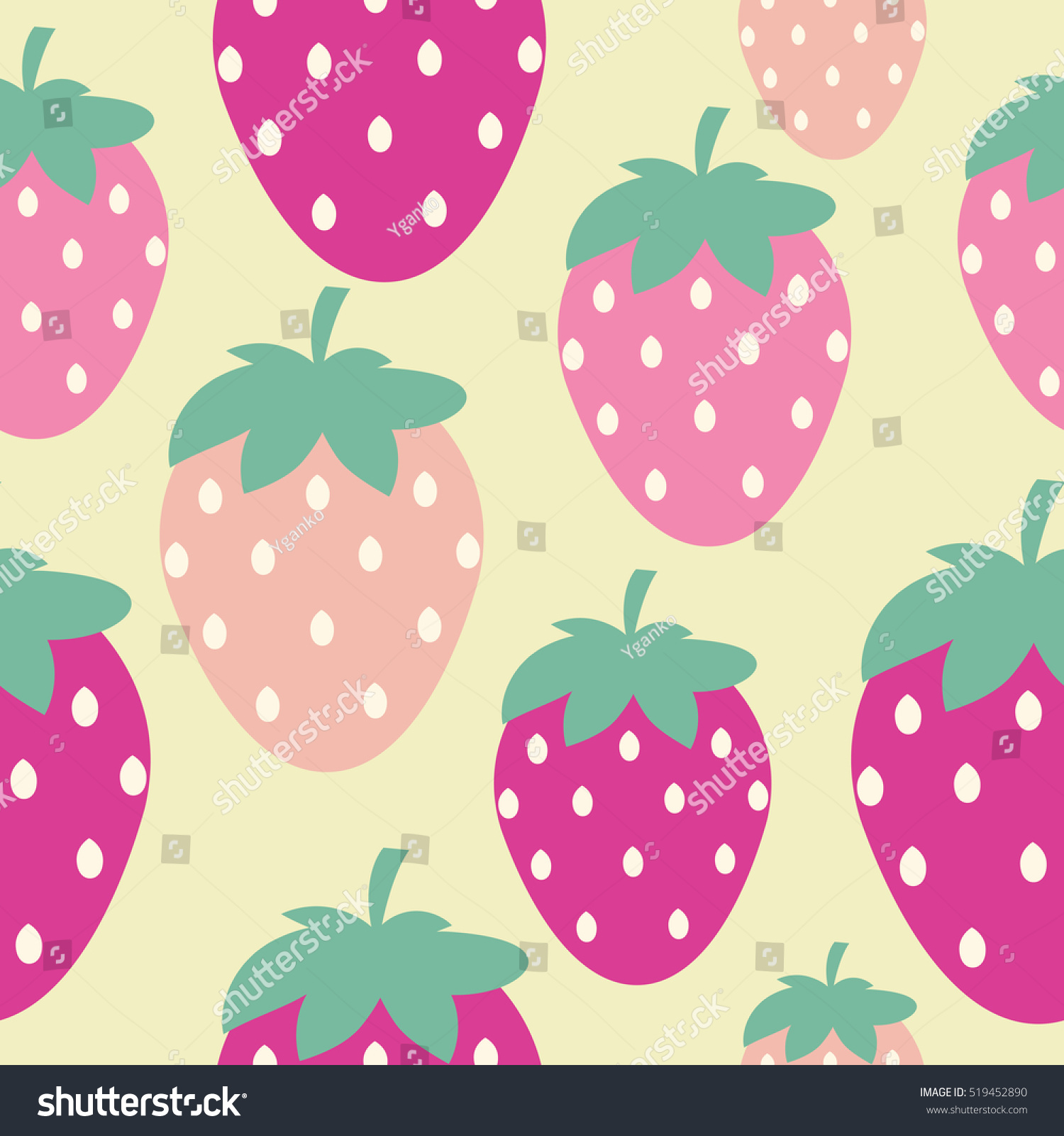 Simple Strawberry Seamless Pattern Background Vector Illustration EPS10
