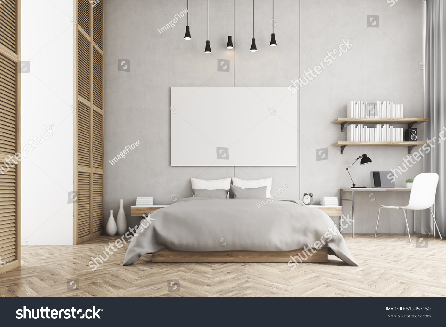 Front View Bedroom King Size Bed Stock Illustration 519457150