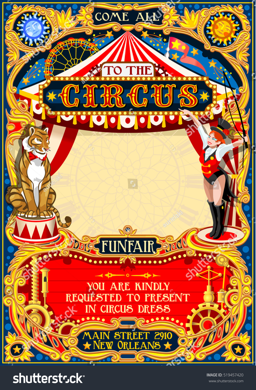 circus animal trainer tamer artist show stock vector