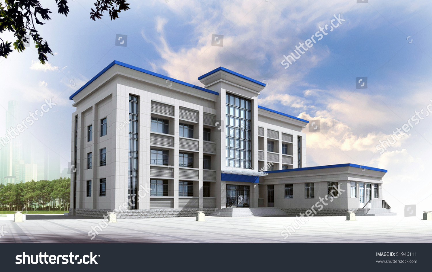 3d construction of office building concept modern city for Modern office building design concepts